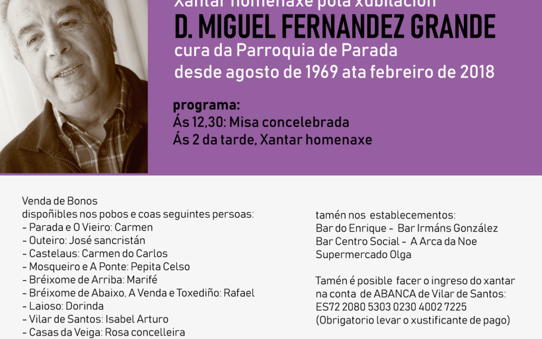 Xantar homenaxe pola xubilación de D. Miguel Fernández Grande