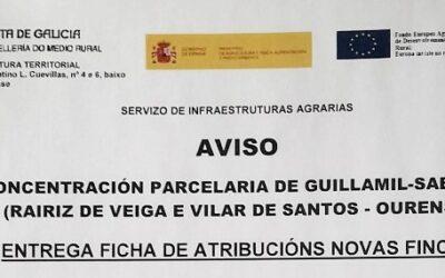 O 28 de decembro entrega fichas atribución novas fincas da Concentración Parcelaria Guillamil-Sabariz