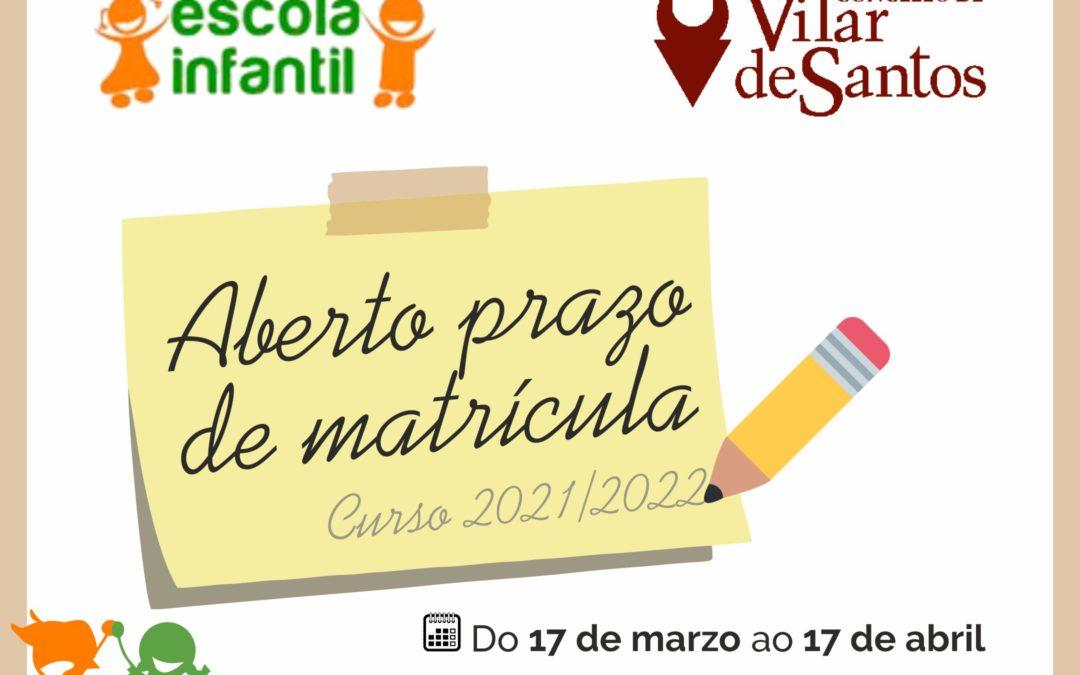 Apertura prazo de matrícula escola Vilar de Santos