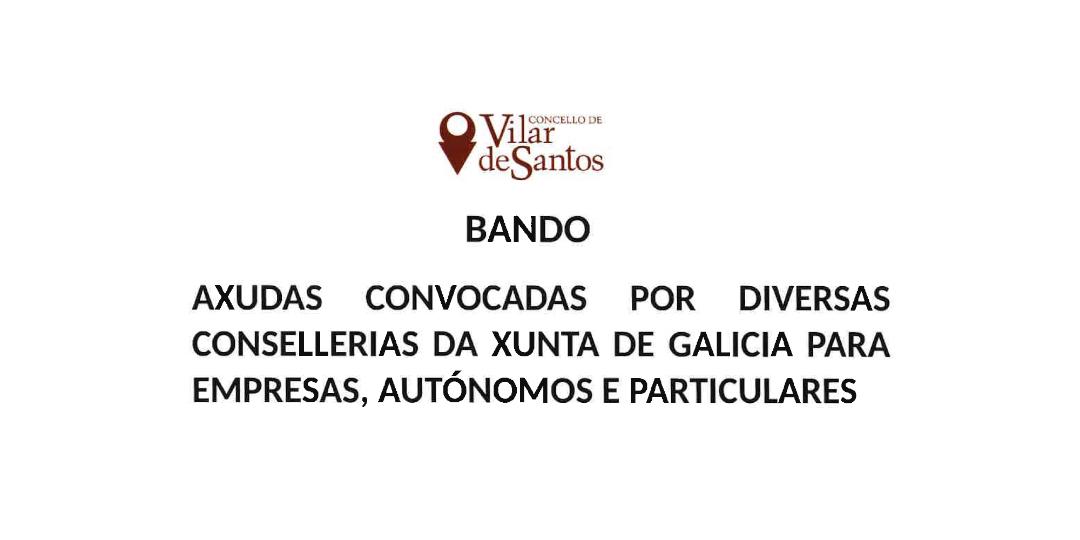 Axudas convocadas por diversas consellerías da Xunta de Galicia para empresas, autónomos e particulares