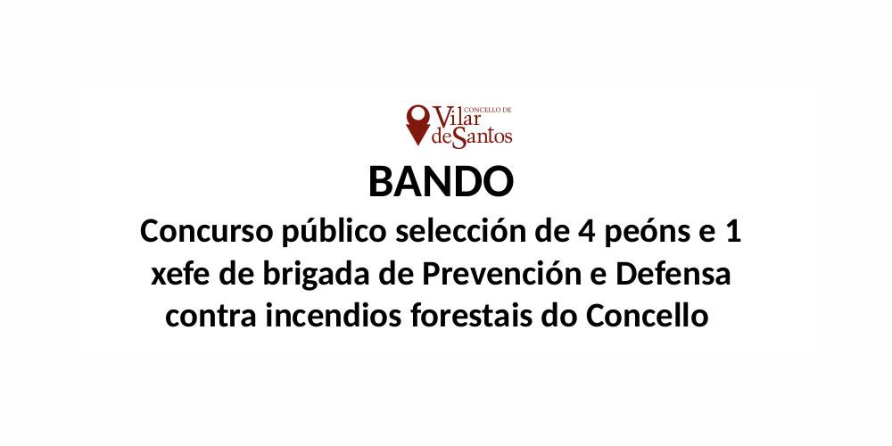 Concurso público selección de 4 peóns e 1 xefe de brigada de Prevención e Defensa contra incendios forestais do Concello